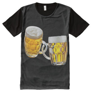 Oktoberfest Friends Two Beer Glasses Funny All-Over Print T-Shirt