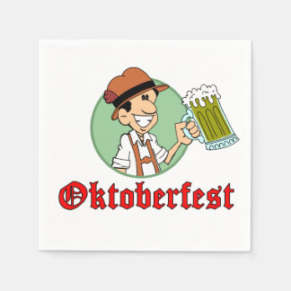 Oktoberfest German Cartoon Guy With Beer Party Disposable Napkin