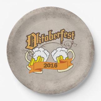 Oktoberfest German Festival Beer Steins Typograph Paper Plate
