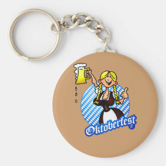 Oktoberfest - girl in a dirndl basic round button key ring