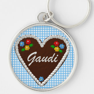 "Oktoberfest Heart ""Gaudi"" Silver-Colored Round Key Ring"