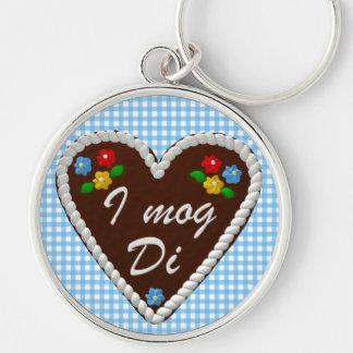 "Oktoberfest Heart ""I mog Di"" Silver-Colored Round Key Ring"