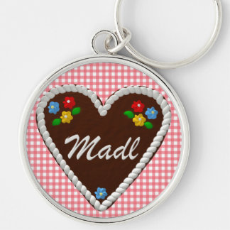 """Oktoberfest Heart """"Madl"""" Silver-Colored Round Key Ring"""