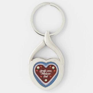 Oktoberfest Heart Silver-Colored Twisted Heart Key Ring