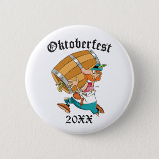Oktoberfest Man With Keg 6 Cm Round Badge