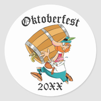 Oktoberfest Man With Keg Classic Round Sticker