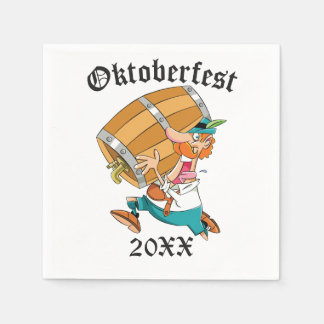 Oktoberfest Man With Keg Disposable Serviette