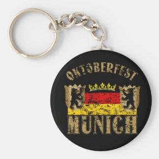 Oktoberfest Munich Distressed Look Design Basic Round Button Key Ring
