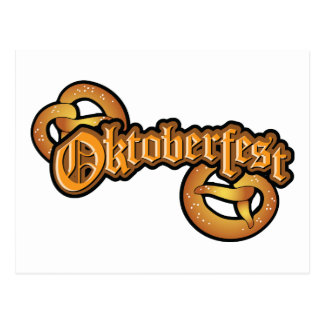 oktoberfest pretzels with text postcard