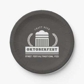 Oktoberfest Street Festival on Chalkboard Paper Plate