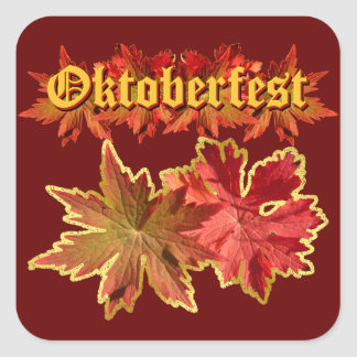 Oktoberfest Text Design With Autumn Leaves Square Sticker