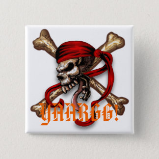 Ol Pirate Skull, YAARGG! 15 Cm Square Badge