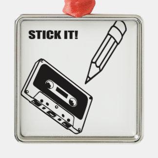 ol school cassette metal ornament