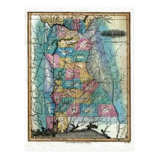 Old 1826 Alabama Map Postcard