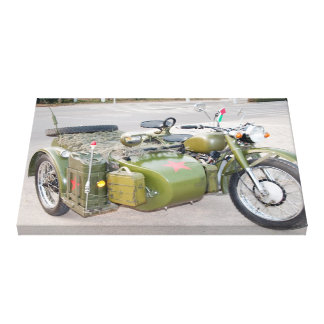 Old 750B-2 motorcycle with a sidecar Stretched Canvas Print