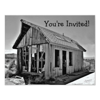 """Old abandoned and detroyed shack invitations 4.25"""" x 5.5"""" invitation card"""