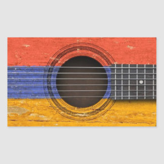 Old Acoustic Guitar with Armenian Flag Rectangular Stickers