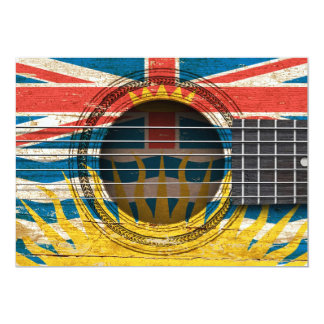 Old Acoustic Guitar with British Columbian Flag 13 Cm X 18 Cm Invitation Card