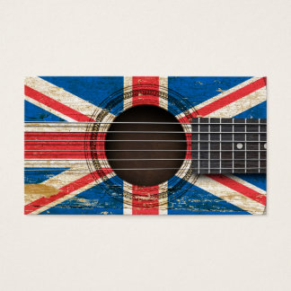 Old Acoustic Guitar with British Flag
