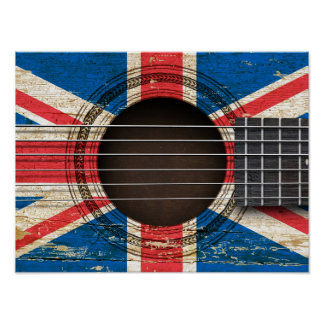 Old Acoustic Guitar with British Flag Print