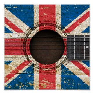Old Acoustic Guitar with British Flag Posters