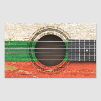 Old Acoustic Guitar with Bulgarian Flag Rectangular Stickers