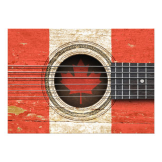 Old Acoustic Guitar with Canadian Flag Personalized Invite