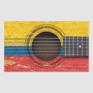 Old Acoustic Guitar with Colombian Flag Rectangular Stickers