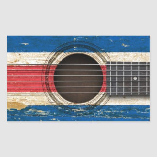 Old Acoustic Guitar with Costa Rica Flag Sticker