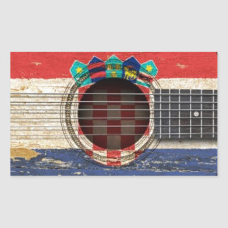 Old Acoustic Guitar with Croatian Flag Rectangular Stickers