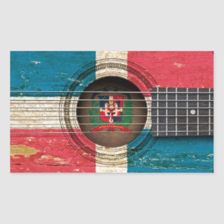 Old Acoustic Guitar with Dominican Republic Flag Rectangle Stickers