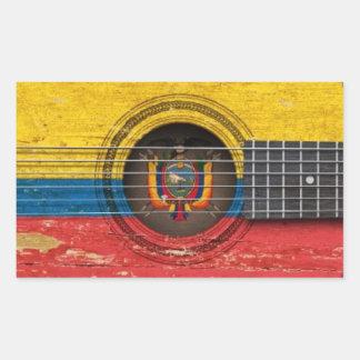 Old Acoustic Guitar with Ecuadorian Flag Rectangular Sticker