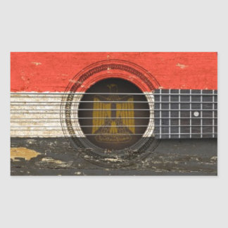 Old Acoustic Guitar with Egyptian Flag Rectangular Stickers
