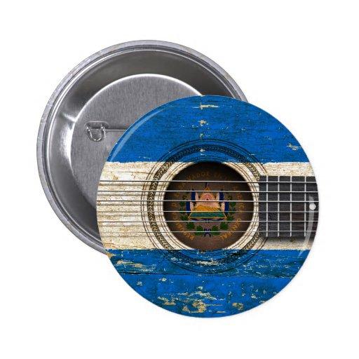 Old Acoustic Guitar with El Salvador Flag Pin