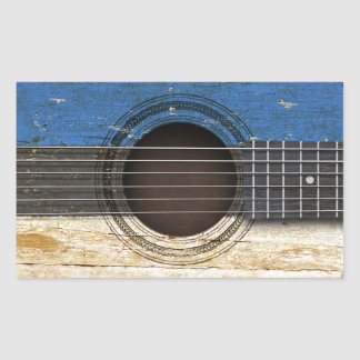 Old Acoustic Guitar with Estonian Flag Rectangle Stickers