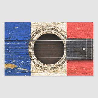 Old Acoustic Guitar with French Flag Rectangular Stickers
