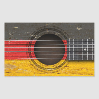 Old Acoustic Guitar with German Flag Stickers