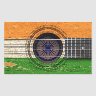 Old Acoustic Guitar with Indian Flag Stickers