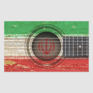 Old Acoustic Guitar with Iranian Flag Sticker