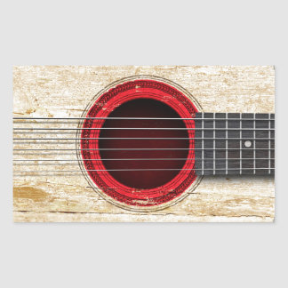 Old Acoustic Guitar with Japanese Flag Stickers