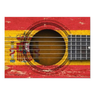Old Acoustic Guitar with Spanish Flag Custom Announcements
