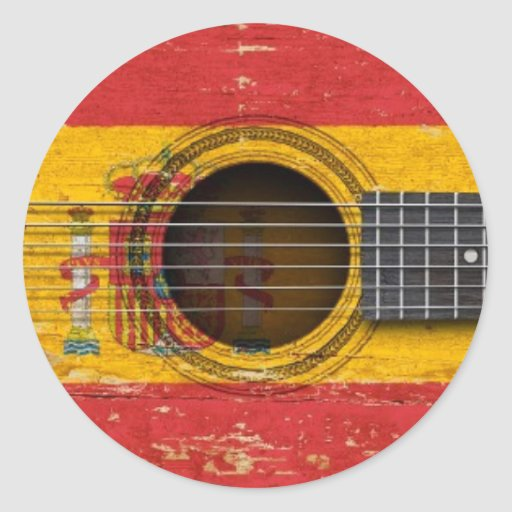 Old Acoustic Guitar with Spanish Flag Sticker