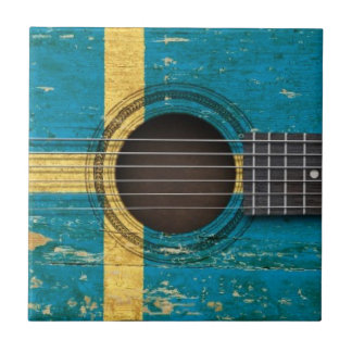 Old Acoustic Guitar with Swedish Flag Tile