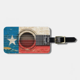 Old Acoustic Guitar with Texas Flag Luggage Tag