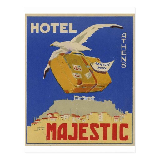 Old Advert Athens Greece Hotel Majestic Post Cards