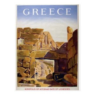 Old Advert Greece Mycenae Gate Of Lionesses Postcard