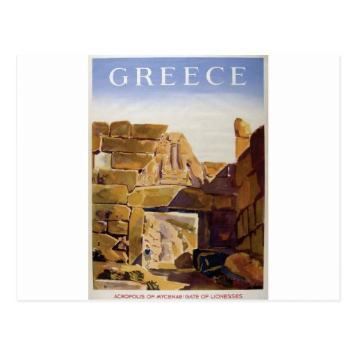 Old Advert Greece Mycenae Gate Of Lionesses Post Cards