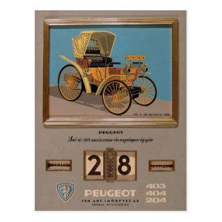 Old Advert Greece Peugeot Postcard