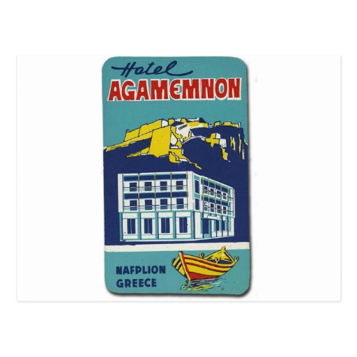 Old Advert Nafplio Greece Hotel Agamemnon Postcards