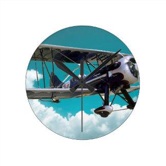 Old Airplane Round Clock